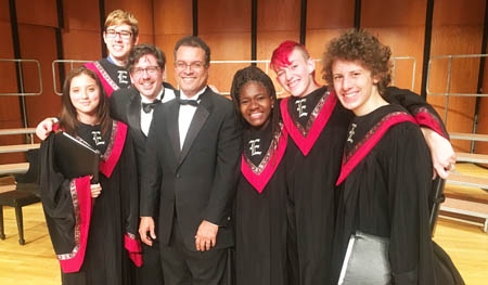 On stage at UWS following their performance of the Schubert Mass No.2 in G are the following Ely Choral students and the Chorfest Directors. Pictured, l-r, are: Vannesa Bravo, Logan Mann, Dr. Richard Robbins, Dr. Jose Rivera, Maggie Isbell, Lily Sauls and Caleb Rouse-Littler.