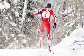 THE TOP ELY BOYS FINISHER at the Dec. 16 season-opening meet at Hidden Valley was Simon Stouffer (6). The senior completed the 5.5-kilometer course at the Ely Classic race in 17:15.7, good enough for seventh place in a field of about 40 skiers.
