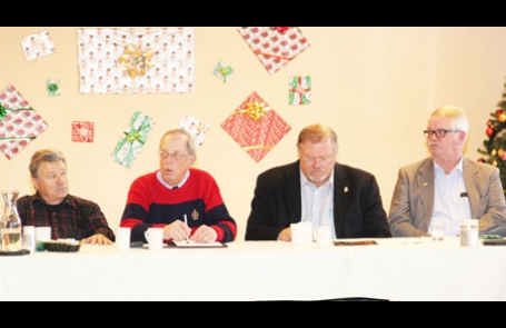 AT GRAND ELY LODGE were St. Louis County Commissioner Tom Rukavina, Ely mayor Chuck Novak, State Sen. Tom Bakk and State Rep. Rob Ecklund for the annual area legislative meeting. Photo by Nick Wognum.